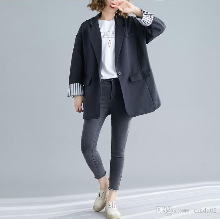 Damenbekleidung Frühling und Herbst koreanische lose Freizeit-Klage Jacke weibliche lange beiläufige Blazer für Damen 2 Farben