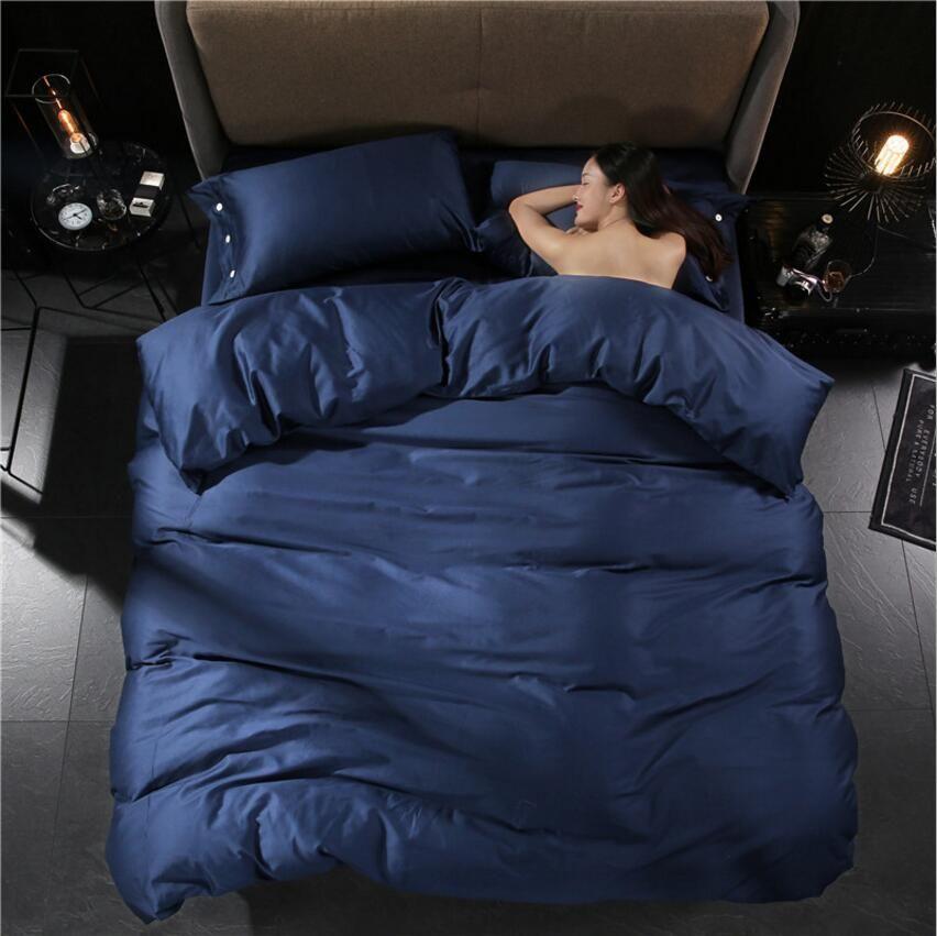 Luxury Egypt Cotton Bedcover Bedding Sets 4pcs Bedclothes Solid Color Duvet/Quilt Cover Flat Sheet Pillowcase King Queen Size Home Textile
