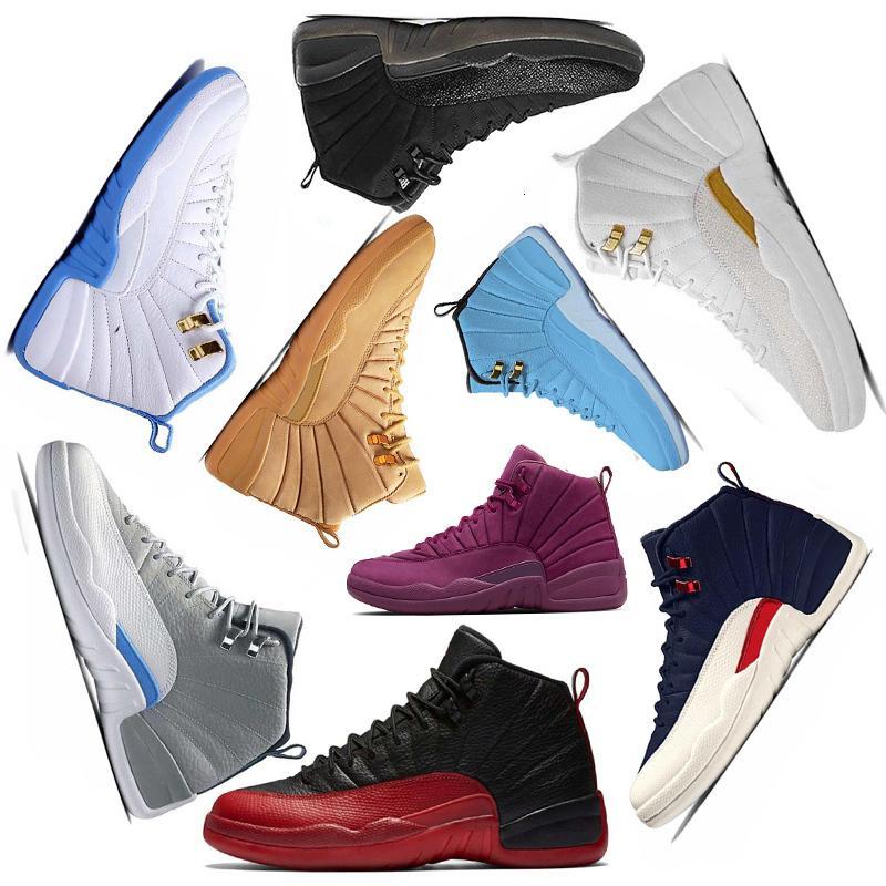 Gym красных 12 12s Баскетбол обуви Бордо темно-серой шерсть белого Flu игр UNC Быки такси гамма французской синей замшу дешевых тапки Спорт
