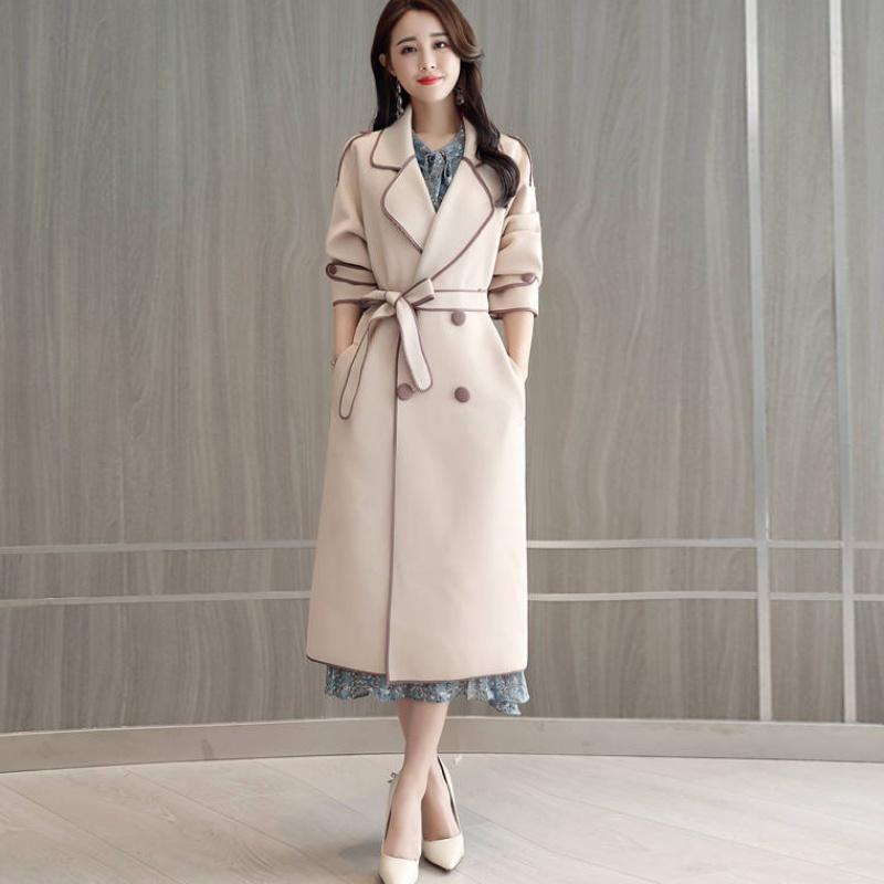 Kaliteli Casual Trençkot Kadın Orta uzunlukta Sonbahar 2020 Kadın Gevşek Dış Giyim Uzun kollu çift göğsü WINDBREAKER Q193