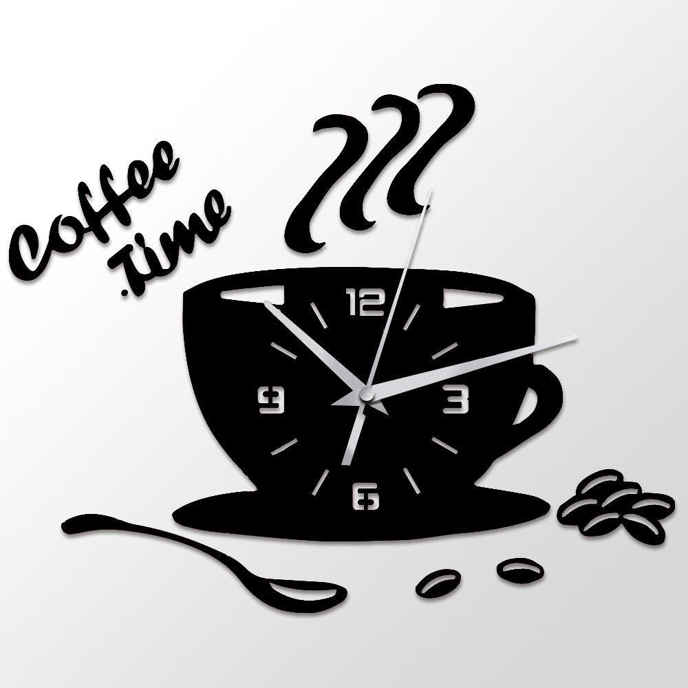 Vintage Wall Clock Coffee Cup Shaped Decorative Kitchen Wall Clocks