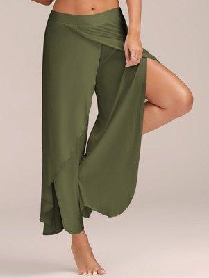 Pantalon de yoga de femme exercice FitnessIn La taille desserrées jambe large Trackpants Rue Baudrier Sexy Slit Fitness Sweatpants gros