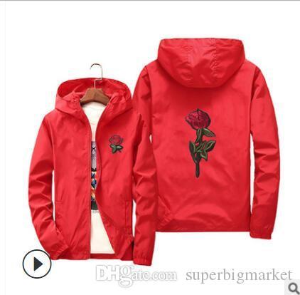 Veste Rose coupe-vent pour hommes et femmes Veste New Mode Blanc et Noir Roses Outwear Coat