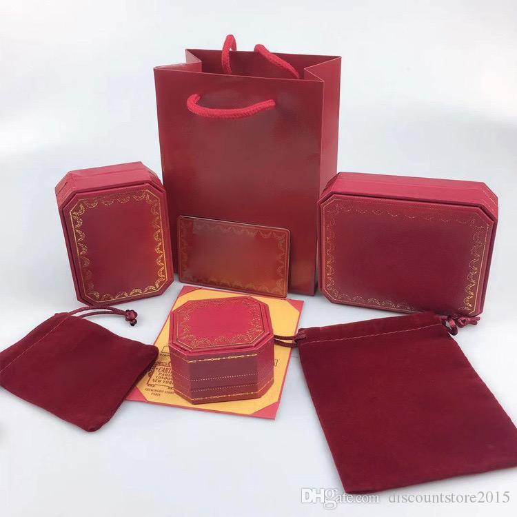 مجموعات المجوهرات مربع الأحمر المرجعية رسالة قلادة سوار أقراط حلقة مجموعات مربع الغبار حقيبة هدية حقيبة (تطابق المبيعات عناصر المتجر، وليس بيع الفرد)