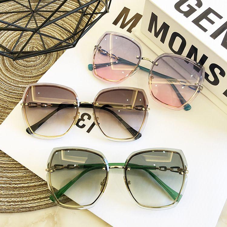 Famous designer design 19 new rimless sunglasses Fashion sunglasses for women Thin face round face sunglasses Uv protection
