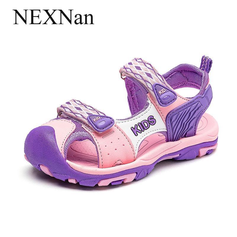 NEXNan été enfants Chaussures pour enfants Sandales Garçons Chaussures Filles Sandales Mesh respirant gros orteil plage chaussures de course HookLoop