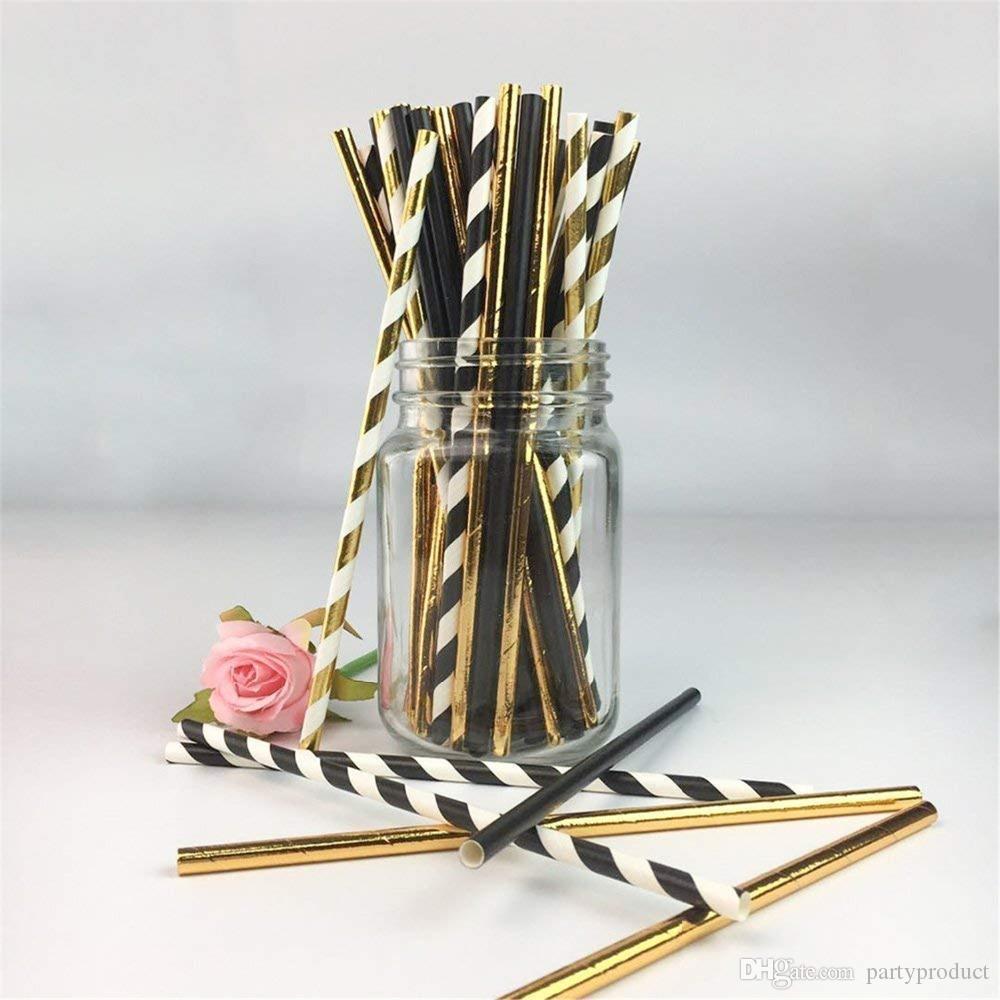 الشحن مجانا 10000 قطع صديقة للبيئة تحلل الذهب الأسود الصلبة مخطط ورقة الشرب القش ل حفل زفاف عيد الزينة