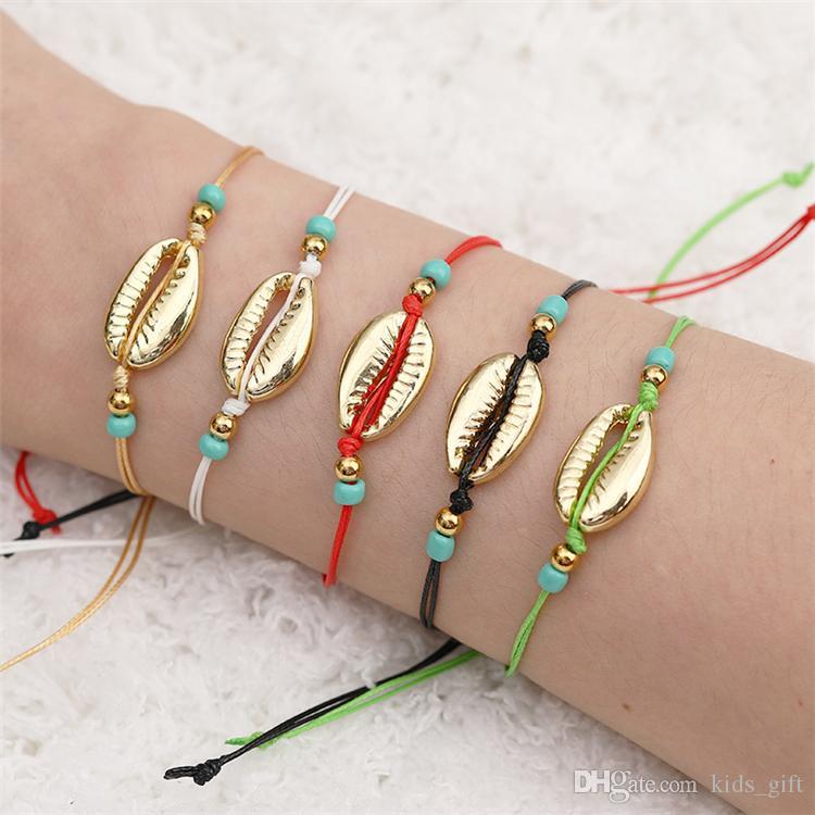 Handgemachte Seil-Korn Geflochtene Armbänder 7 Farbe Gold Sea Shell Armband bunte natürliche Korn-Armband-Dame-Strand Schmuck KJY856