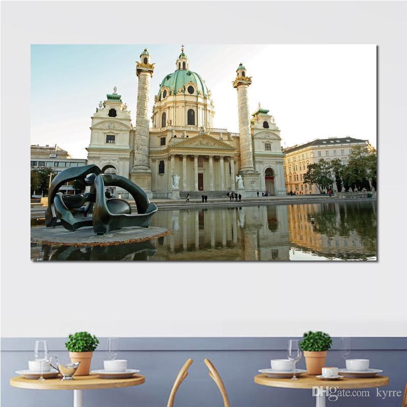Affiche moderne cathédrale entrée de pierre blanche ancienne impressions sur toile mur toile impressions sur toile sans cadre