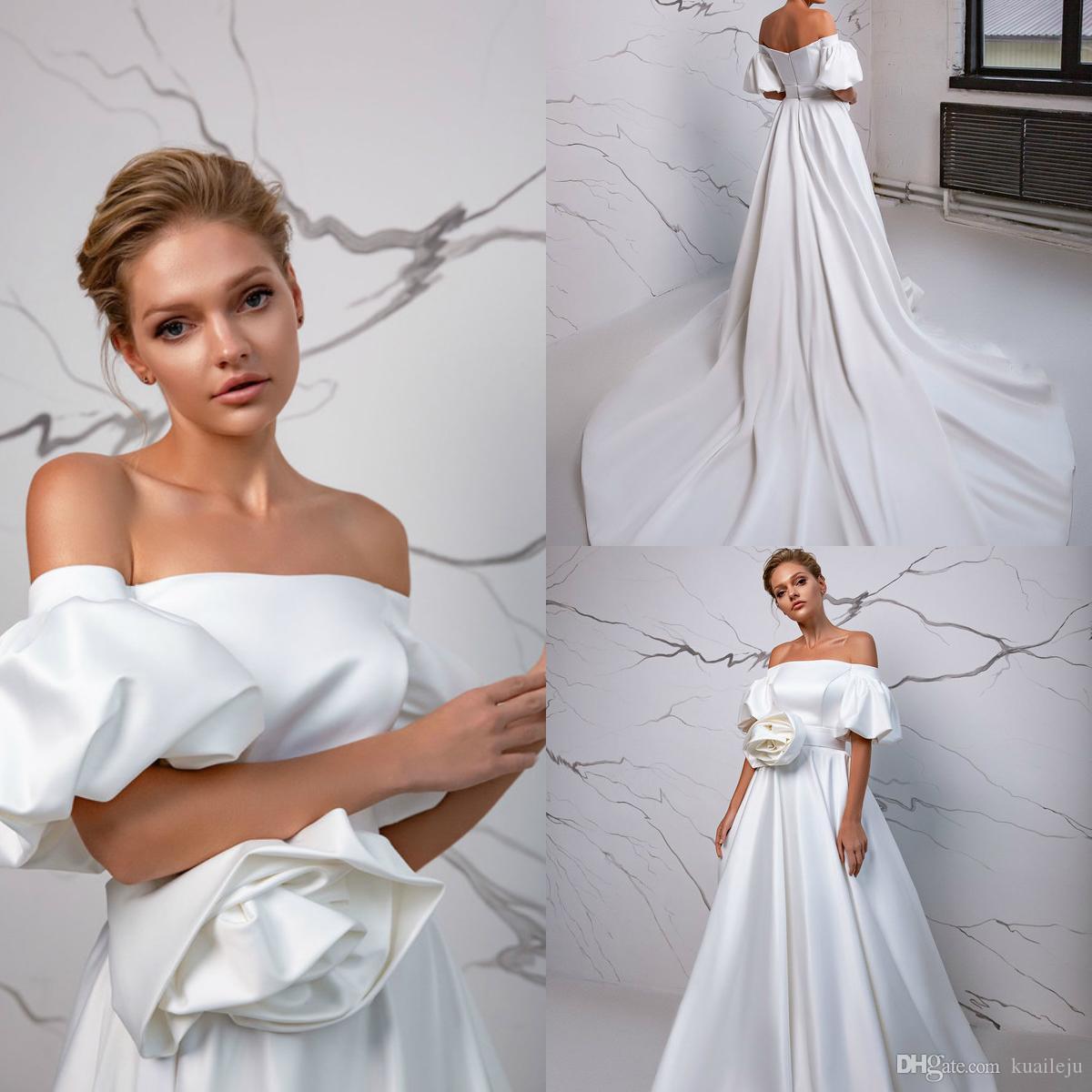 2020 Eva Lendel fatto a mano abito da sposa in raso di fiori Una linea vestiti Corte dei treni da sposa Abiti da sposa