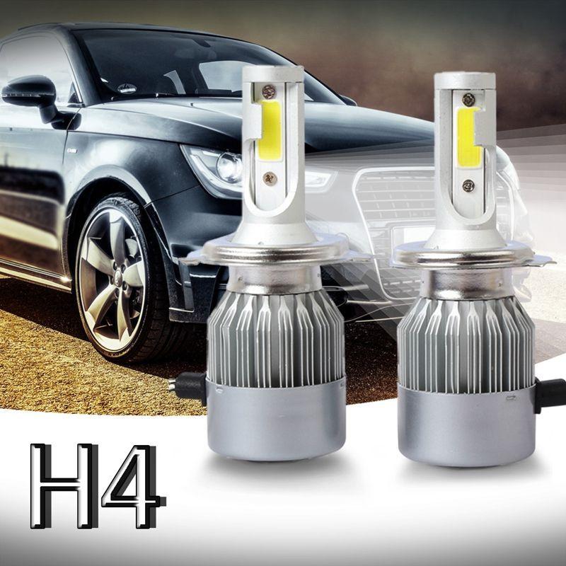 New 2pcs C6 LED farol do carro Kit COB H4 36W 7600LM Branco Lâmpadas