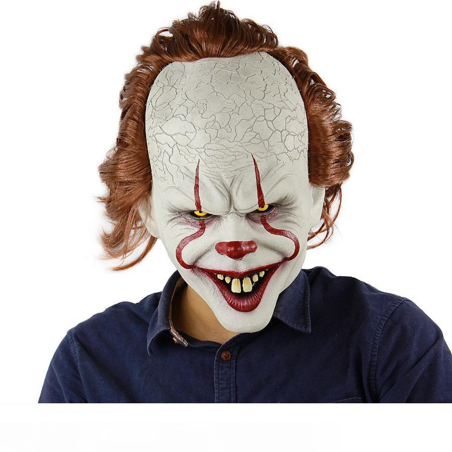 Silicone Movie Stephen King's It 2 Joker Pennywise Mask Full Face Horror Clown Latex Mask Halloween Party Horrible Cosplay Prop Mask RR