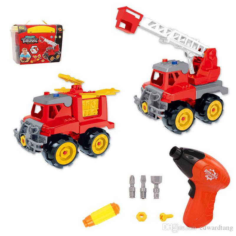 WYT DIY Assemble Fire Engine with Electric Drill, Aerial Ladder Truck, Fire Sprinkler, Developmental Toys, Party Xmas Kid Birthday Gifts 2-1