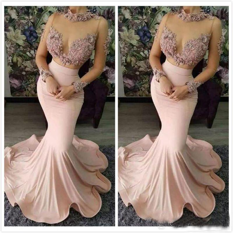 2019 dentelle perlée robes de soirée sexy col haut manches longues robes de bal robes de soirée en satin élastique Pageant robes