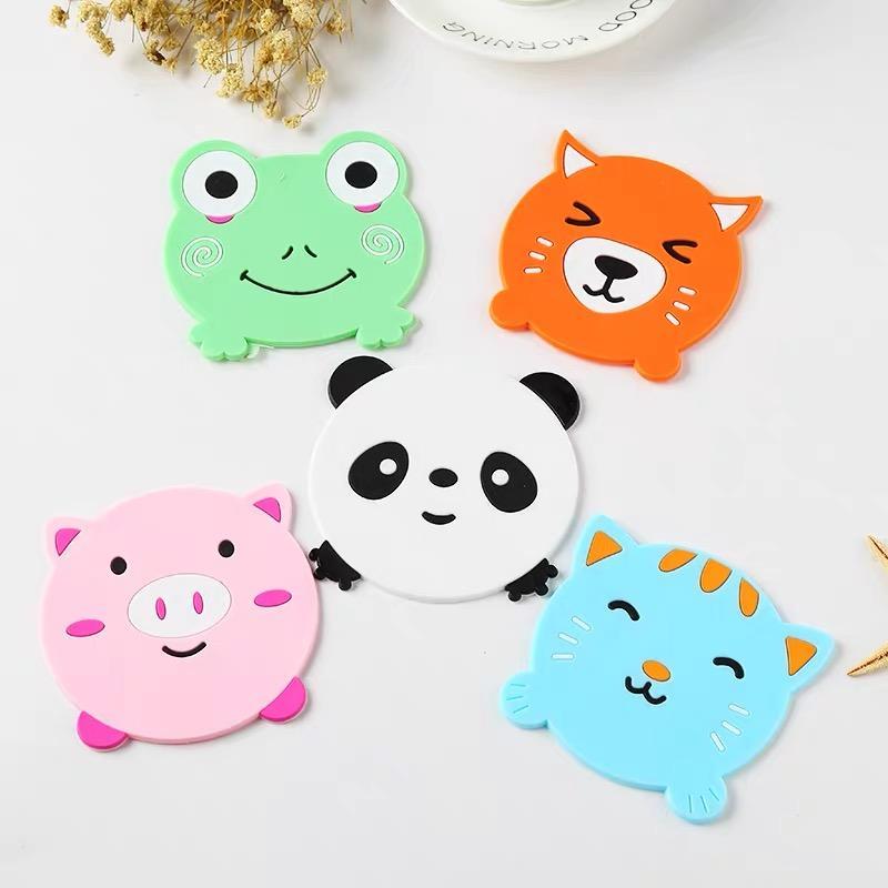 Coupe Arts de la table silicone Tapis tampon isolant Motif Cartoon animal Tableau Décore Creative Style de grenouille Panda Pig Cat Modeling