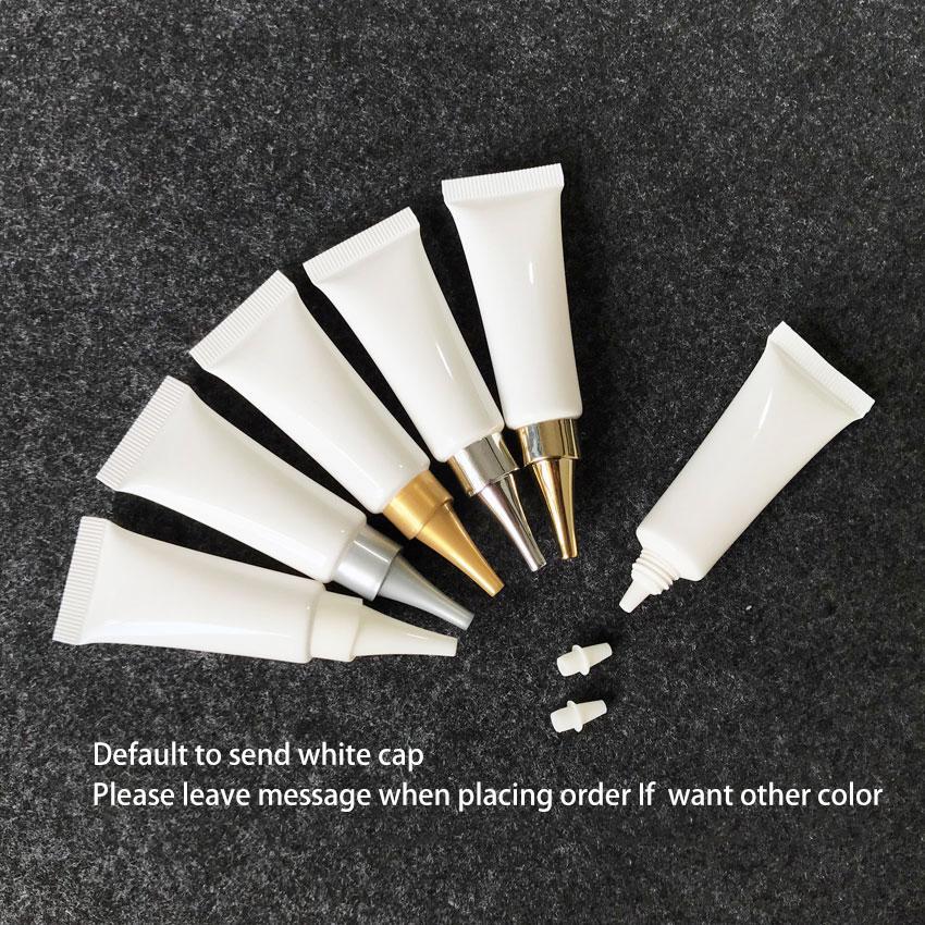 10мл белый пустой пластиковой трубкой Косметический крем для глаз бутылку 10g лосьон для рук Бальзам для губ Образец Упаковка шланговые Бутылки Бесплатная доставка