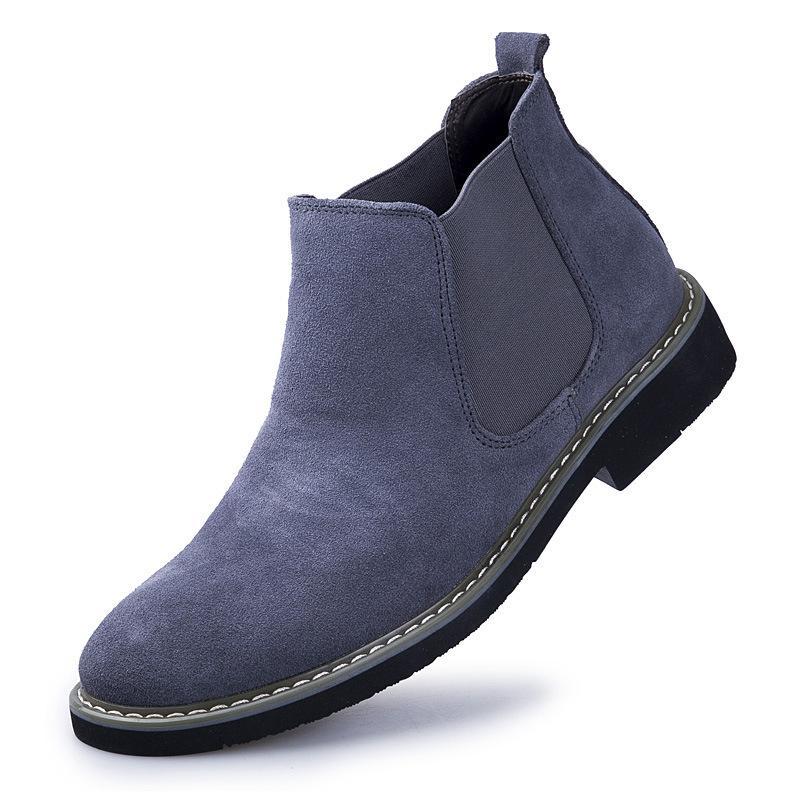 İngiltere eğilim ayakkabı zy4701 erkekler için Sıcak Satış-Hakiki deri Erkekler yarım bot inek süet botlar düz topuk ayakkabı ingiliz tarzı kayma