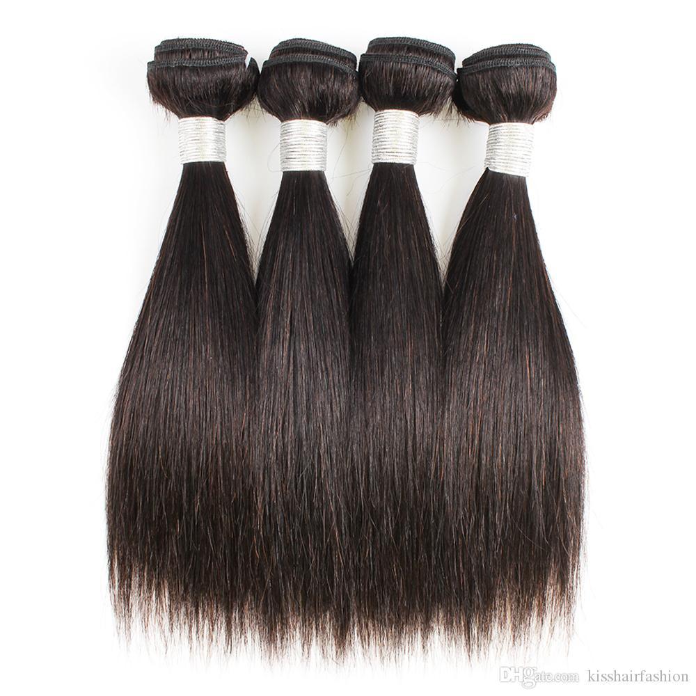 Em linha reta cabelo Weave Pacotes 4 Pcs 50g / pc Cor 1B Preto barato peruanas Virgens extensões de cabelo Weave Humanos para curto Bob Estilo