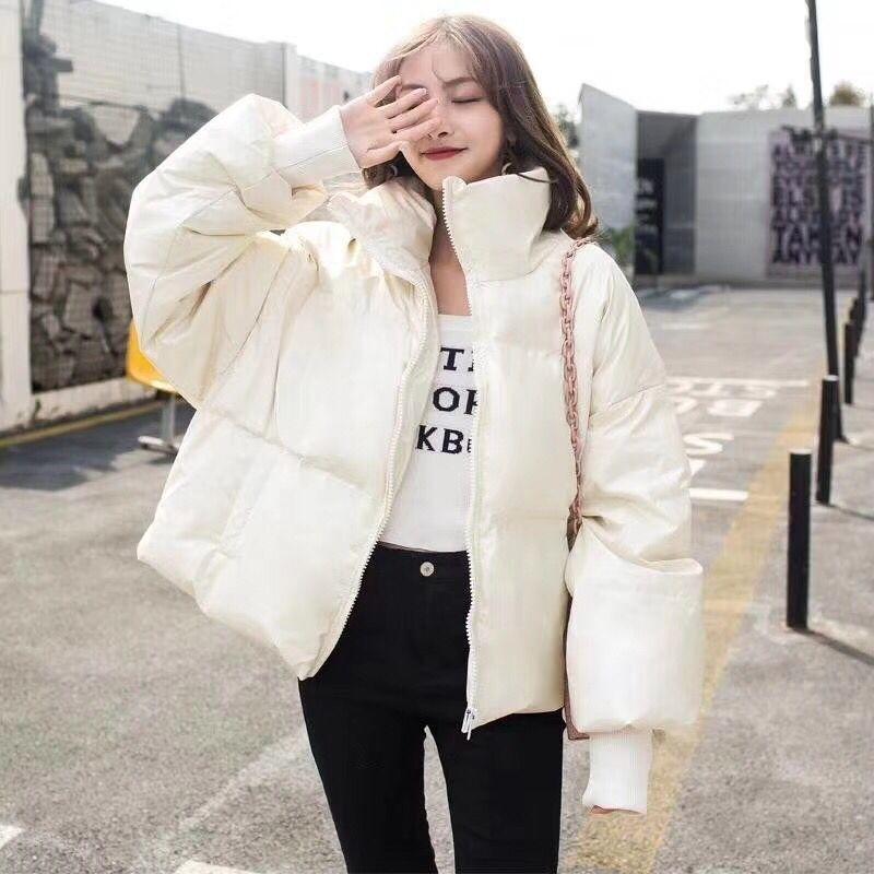 Moda-Casual Temel Parlak Ceket Kış Kadın Sıcak Gevşek Sustans Parkas Şeker Renk Sevimli Kız Pamuk yastıklı Coat Casaco FemmeMX190822 İçin