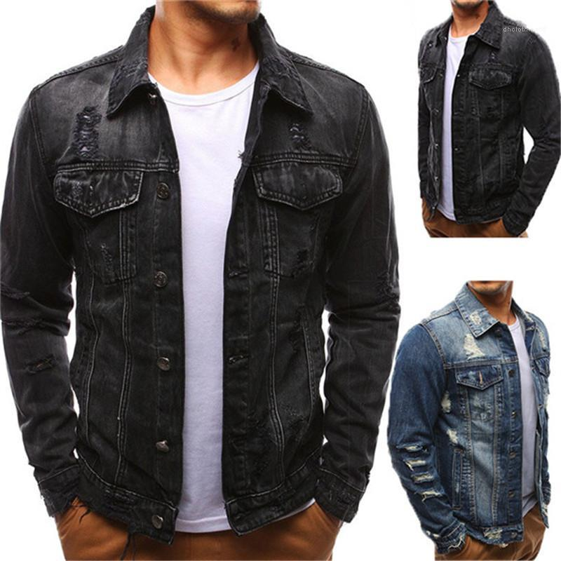 Jackets Washed Casual Street Style Holes Vintage Cool Button Lapel Neck Long Sleeved Jackets Fashion Mens Coats Denim Mens Designer