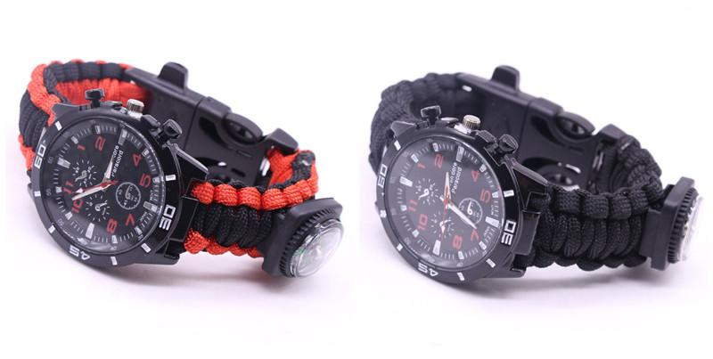 EDC Multi Tools Tactical Camouflage Outdoor survival watch bracelet compass Rescue Rope paracord Camping equipment (24)
