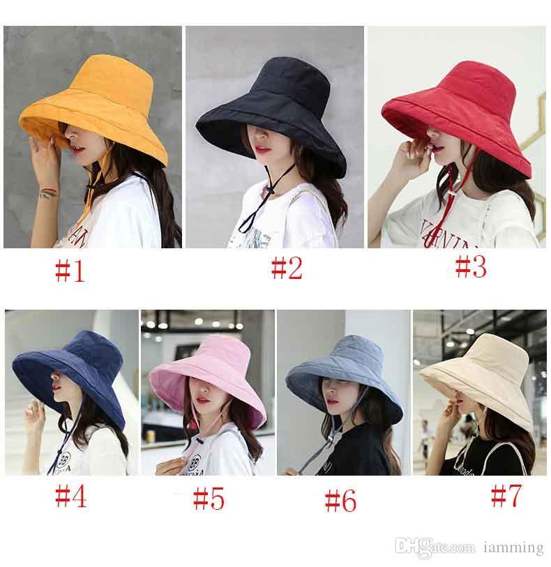 Yüksek Kaliteli Kadın kadife balıkçı şapka havza kap kadın yaz vahşi basit büyük Kap saf renk kapak yüz rahat güneş şapka kadının şapka