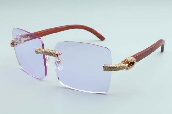 2020 grandi occhiali da sole quadrati dei nuovi uomini di diamante pieno occhiali T3524012-2B lusso senza confini occhiali da sole in legno naturale cornice
