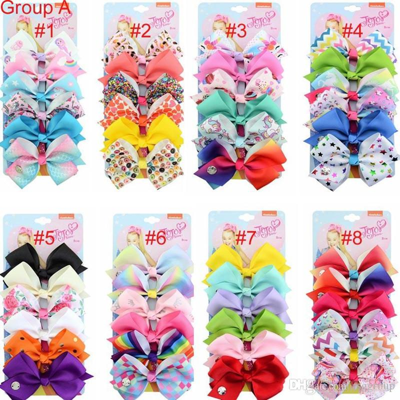 """Free DHL 156 colors Designer INS 5"""" Bow girl colorful print Barrettes Accessories Rainbow kids Unicorn party hair clipper"""