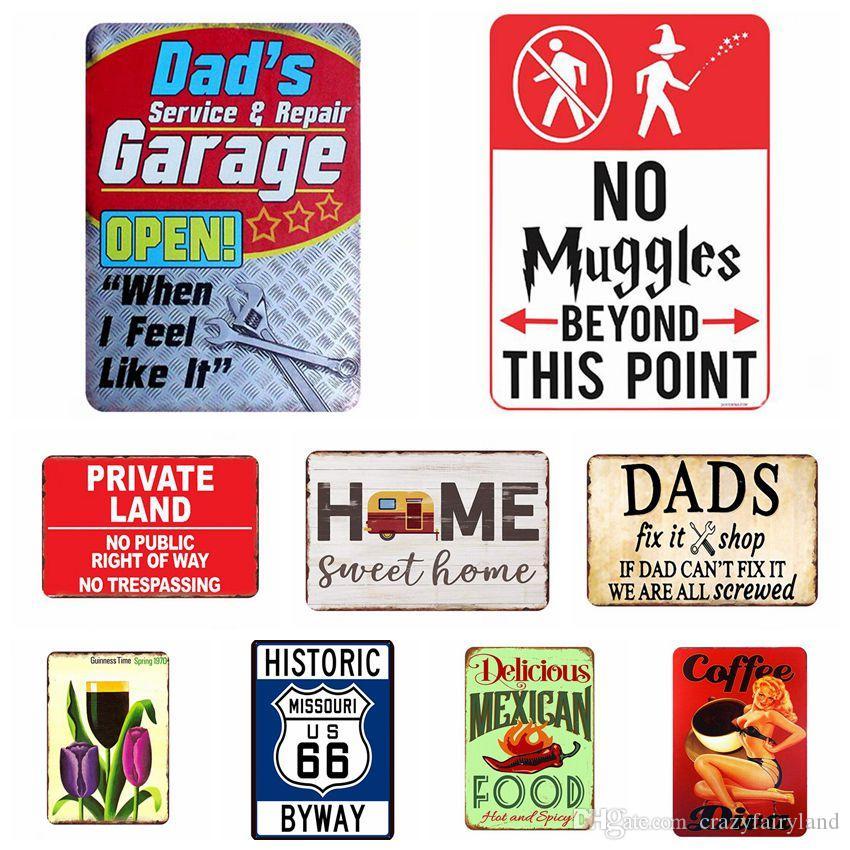 주석 표 미국 빈티지 금속 깡통 표지판 66 자동차 번호판 패 포스터 바 클럽 벽 차고 가정 장식 30*20cm