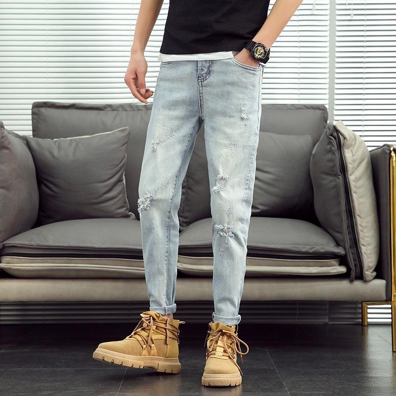 2020New Chegada Top Quality grife Men Denim Jeans bordar Buracos Pants Moda Calças Itália Tamanho