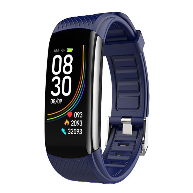 سوار 6color C6T ساعة ذكية للياقة البدنية المقتفي الرياضة ضغط الدم معدل ضربات القلب الذكية مراقب الصحة الاسورة ميزان الحرارة درجة الحرارة محفظة 5pcs