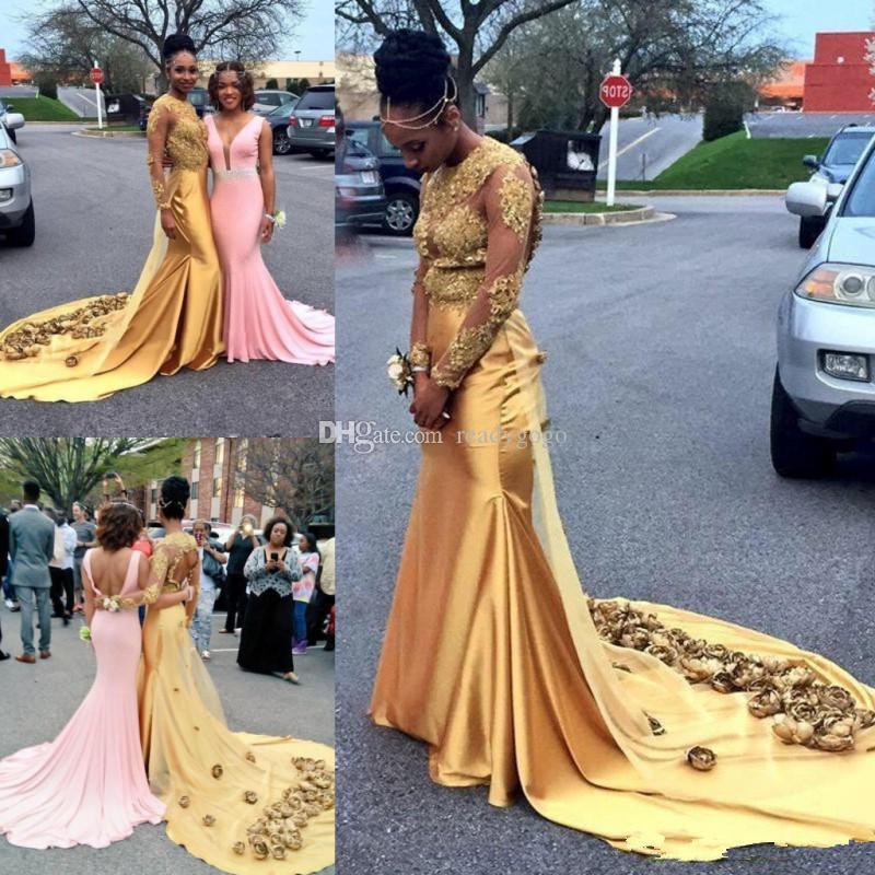 골드 아프리카 인어 이브닝 드레스 중공업 섹시한 수제 꽃 아플리케는 긴 소매 댄스 파티 드레스를 통해 볼 검은 여자 파티 드레스