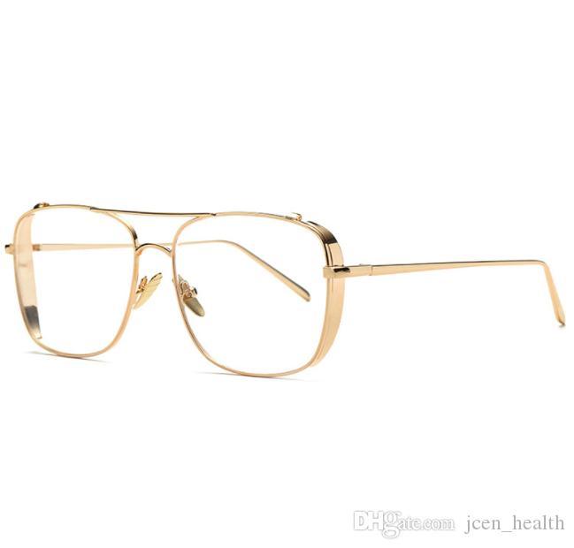 نمط الروك النظارات الشمسية الفاخرة للرجال مربع نظارات عدسة واضحة حافة رجل الإطار الكامل خمر المتضخم الذهب معدن الفضة النظارات الشمسية