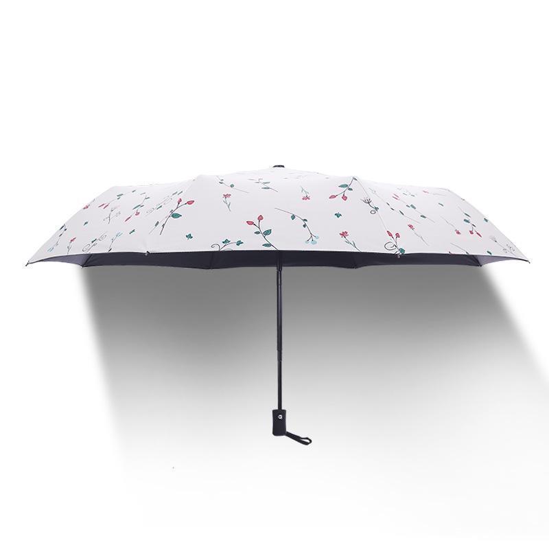 Sun Block UV-Beweis Sonnenschirm Weiß Drei Falten doppelten Zweck: Student Vinyl Regenschirm Sun-regen Regenschirm freies Verschiffen