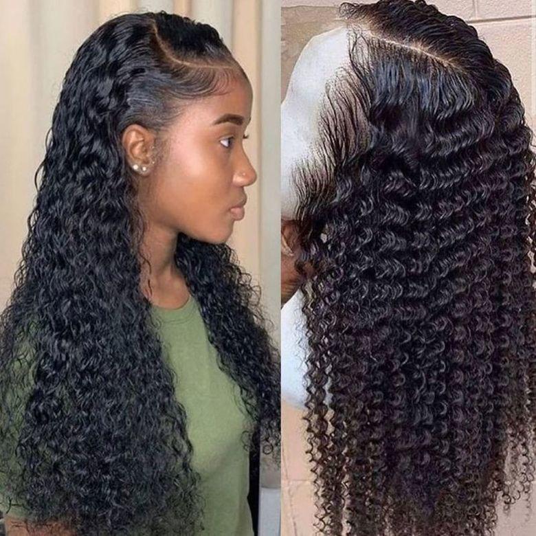 волна воды парика кудрявых париков шнурка волос переднего человека для черных женщин боба Длинного глубоко фронтальные бразильских парик мокрого и волнистого HD fullsers gsdgewrt