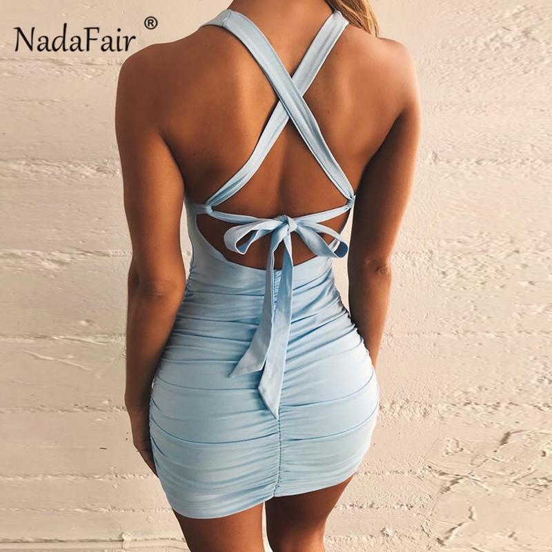 commercio all'ingrosso backless bodycon estate sexy vestito dalla fasciatura donne senza maniche lace up sottile avvolgere drappeggiato mini club party dress blu nero