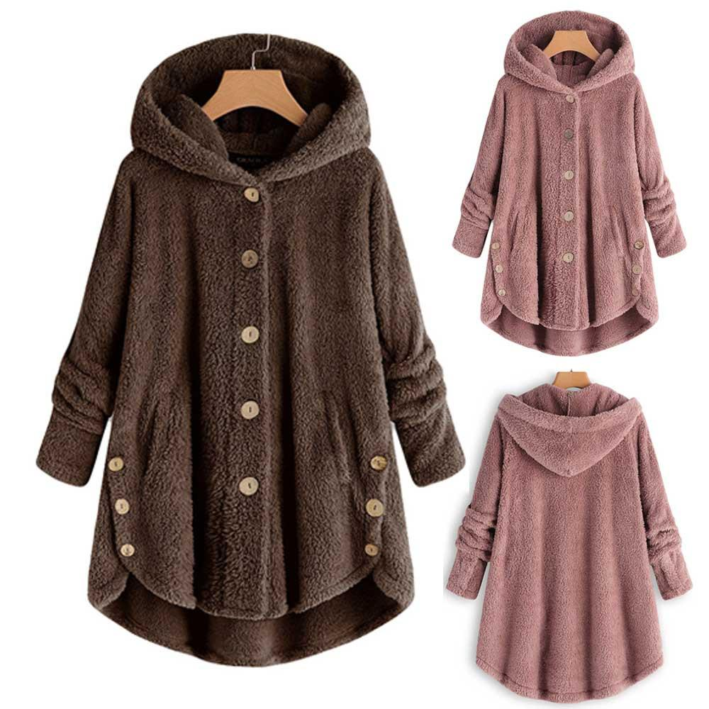 2019 Fashion Women Hot Winter Plus Size S-5XL Button Coat Fluffy Tail Tops Hooded Pullover Loose Oversize Coats Y723