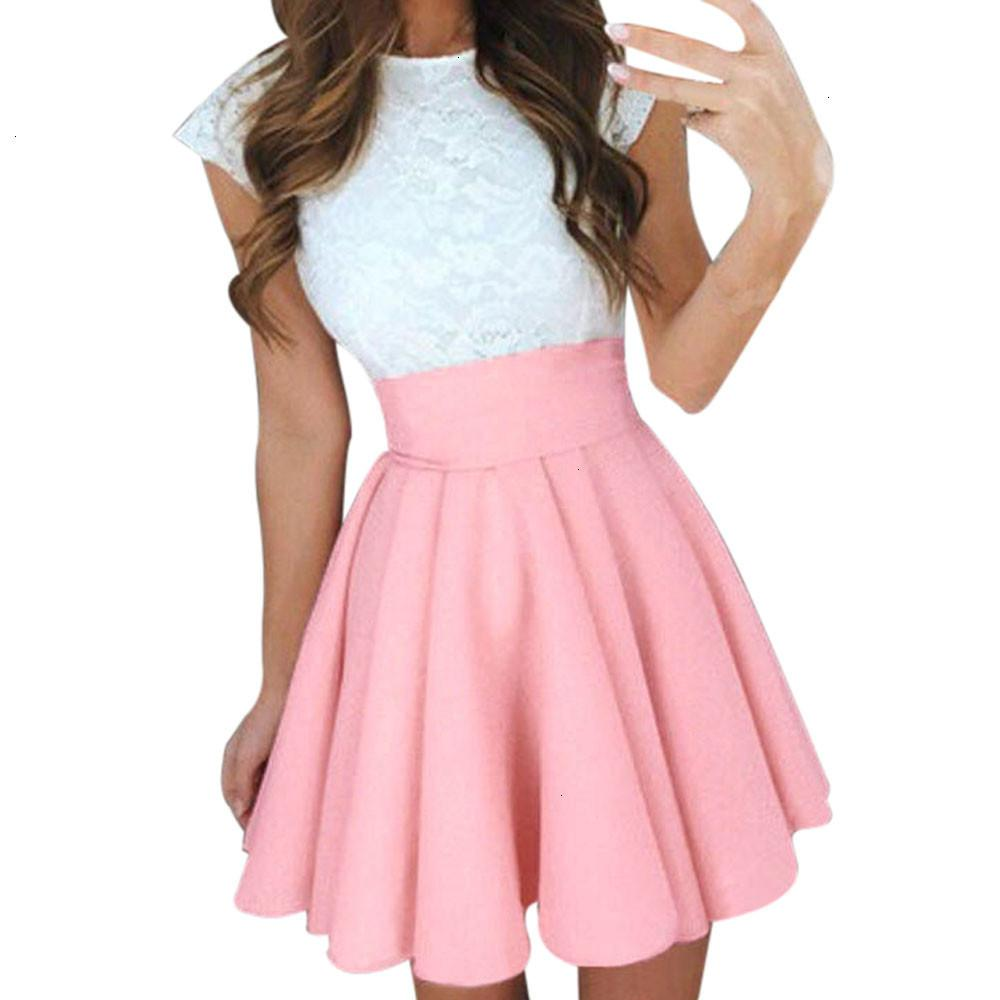Midi Skirts Womens Summer Solid High Waist Simple Skater Skirt Ladies Party Cocktail Mini Skirts Faldas Cortas Yl