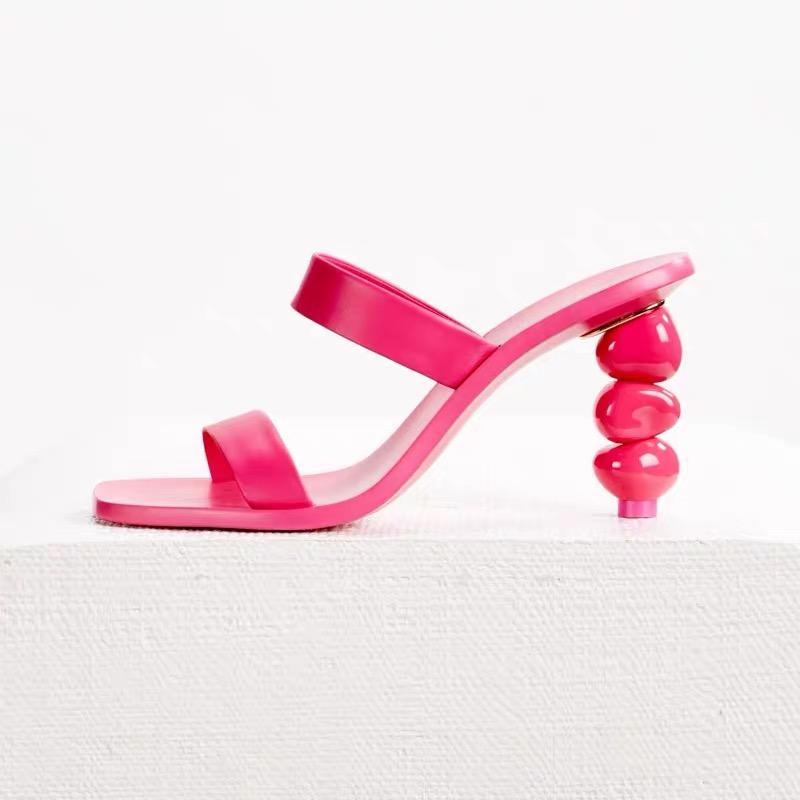 calabaza de las mujeres 2020sandal con zapatos de mujer de moda los tacones de una sola banda de caramelo de color simple transfronterizas