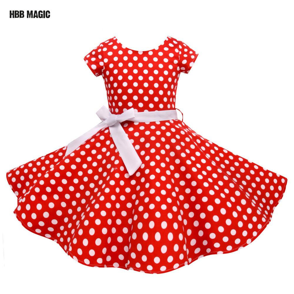 Summer Girls Dress Elegant Vintage Cotton Retro Princess Dress Party Costume Kids Clothes Red Dot Girl Dress Children Clothing Y190516
