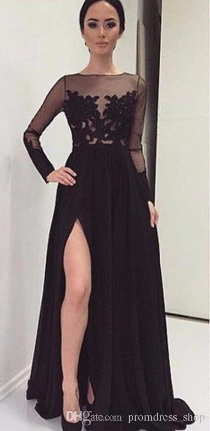 Modest Vestidos De Noche A-line Open Leg Prom Dress Evening Dresses Party Gowns Formal Dresses With Long Sleeve Dubai