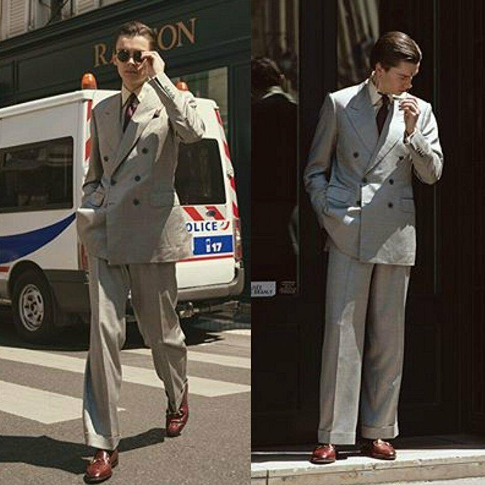 Trajes de boda para hombre gris de la vendimia Slim Fit doble de pecho Peaked de solapa desgaste novio esmoquin chaqueta formal Prom Blazer (chaqueta + pantalones)