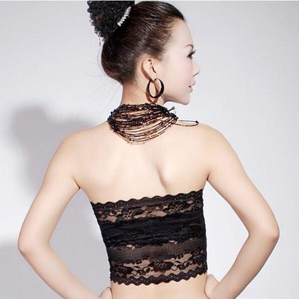 Frauen Wrap Brust Anti-Blendschlauch Top trägerlosen Spitze Wort Spitze Tube Primer wilde koreanische flache mund gewickelte Brustrohroberseite