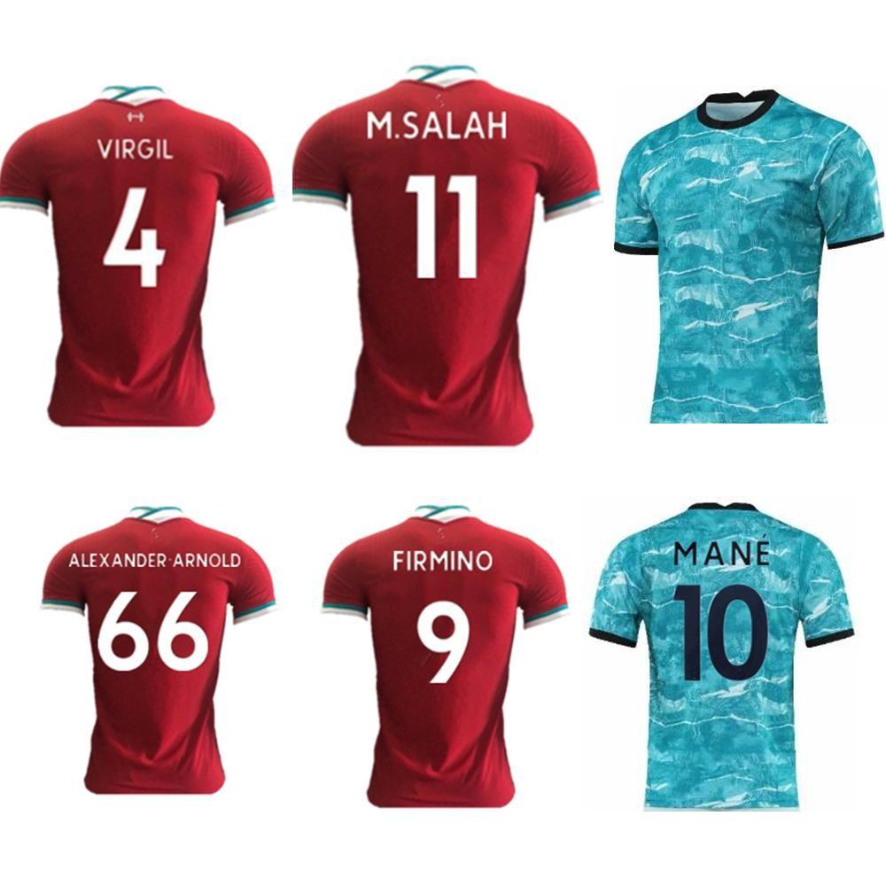 Nuova camicia di calcio personalizzato MANÉ 2020-21 superiore Player versione VIRGIL calcio maglia rossa e blu M. SALAH