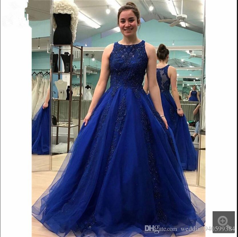 2019 новое прибытие королевский синий шар платье кружева аппликация платье выпускного вечера без рукавов бисером Scoop декольте принцессы выпускного вечера платья горячей продажи