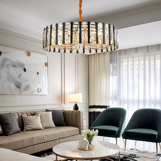 Yeni Modern yaratıcı yuvarlak kristal kolye avize aydınlatma kristal avizeler oda yemek odası yatak odası için kolye ışık lambası