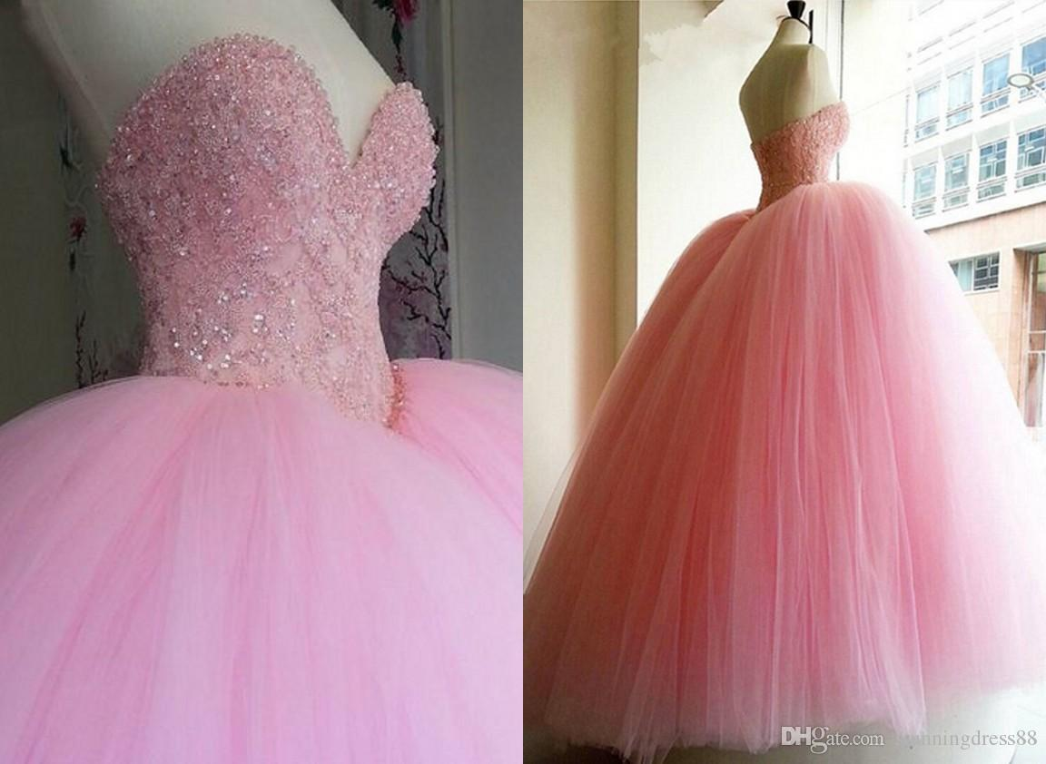 2021 Elegant Pink Ball Gown Cheap Quinceanera Prom dresses Sweetheart Applique Sequin Beaded Tulle Long Sweet 16 Dress Vastidos De Dress