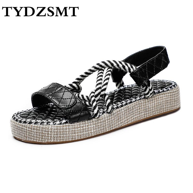 TYDZSMT Женские сандалии 2020 мода лето Женские сандалии Женские пляжные туфли на танкетке туфли на высоком каблуке удобная платформа