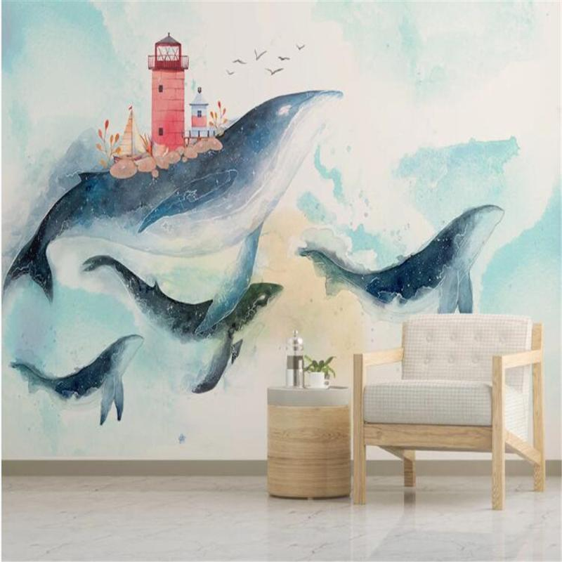 Milofi Nordic Kreativ akvarell Middelhavet havhval barneroms bakgrunnsvegg