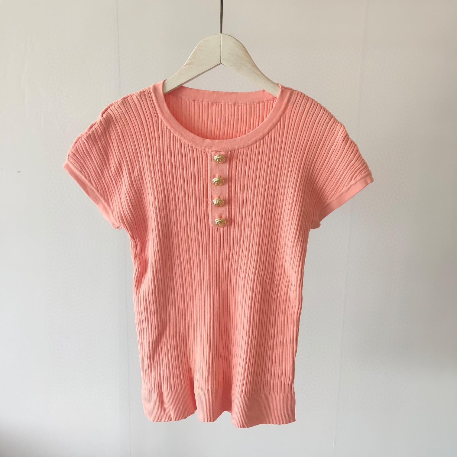 Le donne del progettista della camicia di estate delle signore di modo di lusso Knit T-shirt casual camicia di marca T superiori FF Lettera ragazze manica corta DA 20032603D